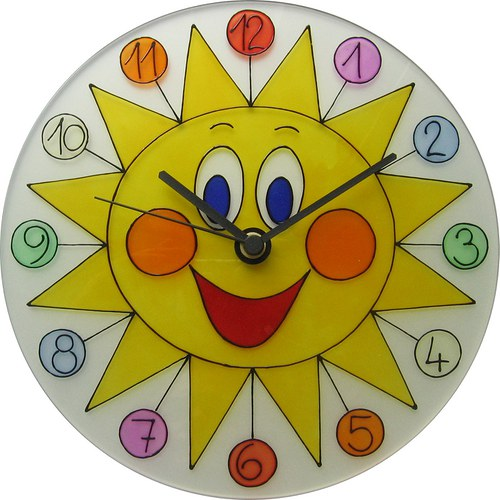 Sluníčko s barevnými čísly - hodiny kulaté 25cm