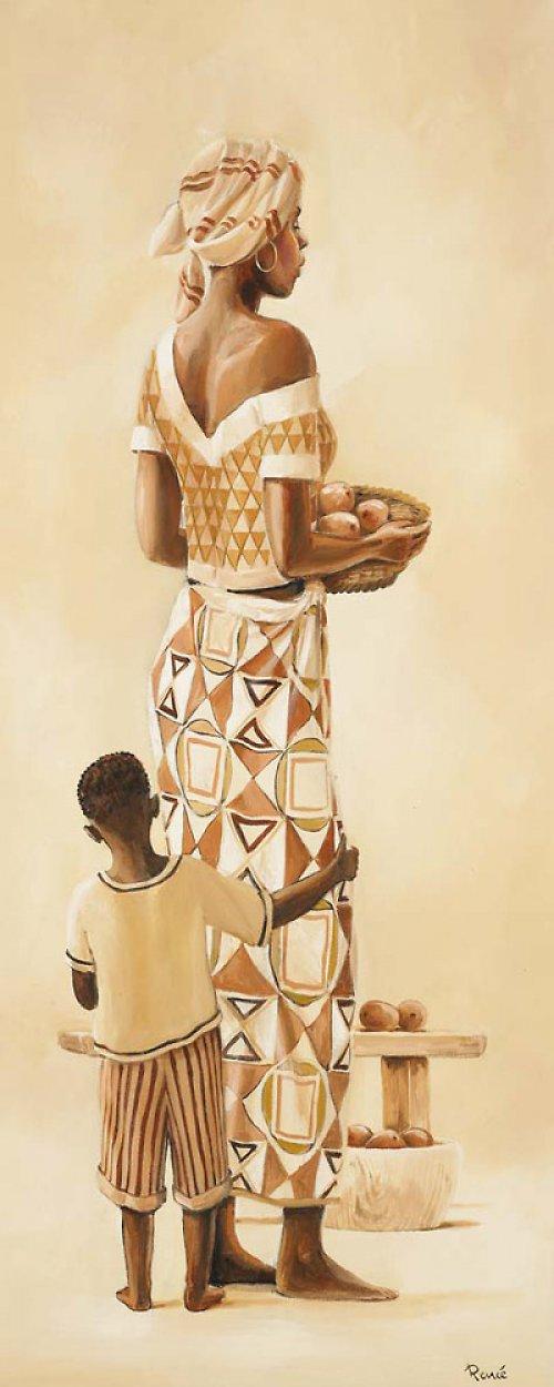 Reprodukce-tisk-Etno afričan s kopím 10x25cm-464A