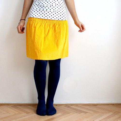 Žabková suknička, manžestrová - žlutá :)