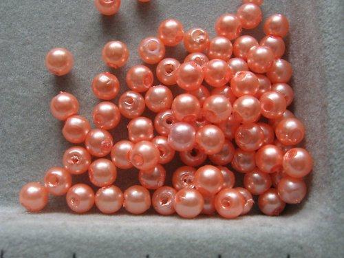 Voskové korálky - tmavě lososová  5 mm / 30 ks