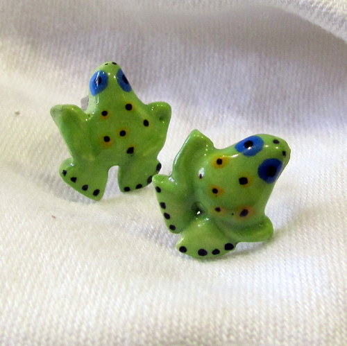 Keramické náušnice - žabičky