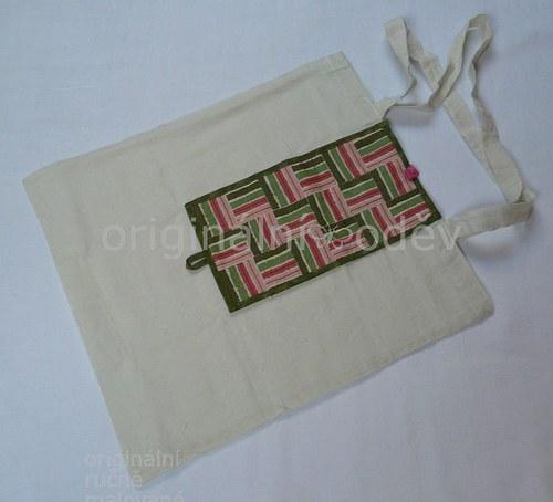 nákupní taška sbalená v patchworku-2 - ZLEVNĚNO