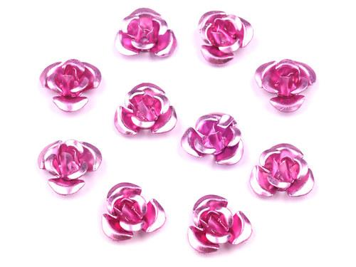 Růžička Ø10mm kovová světle růžová, 10ks