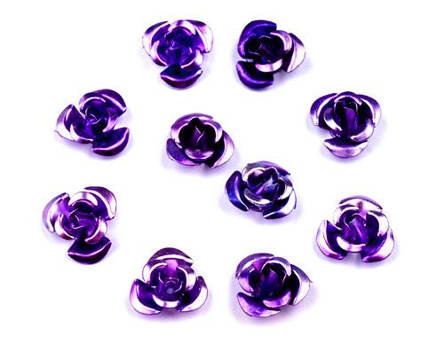 Růžička Ø10mm kovová fialová, 10ks