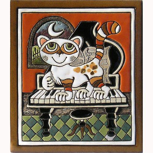 Keramický obrázek - Kočka a klavír K-150-POM 1
