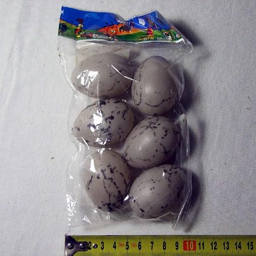 Umělá vejce 6 ks, šedá s melírem