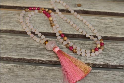 Mala náhrdelník z minerálov ruženín, jadeit,jaspis