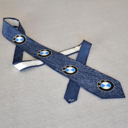 Modrá hedvábná kravata BMW