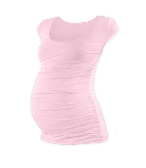 Těhotenské tričko mini rukáv světle růžové