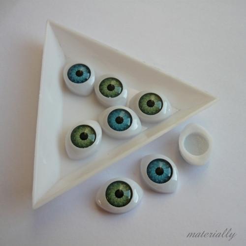 Kabošon - oko modré / 15 mm x 10 mm / 2 ks