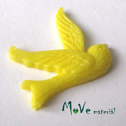 Kabošon ptáček - resin - 1ks, sv. žlutý
