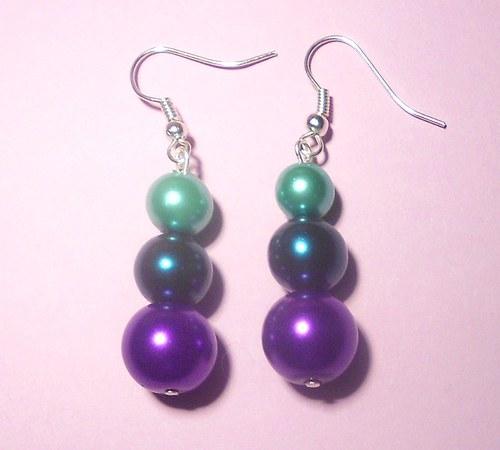 Perly - naušnice odstíny zelené a fialová