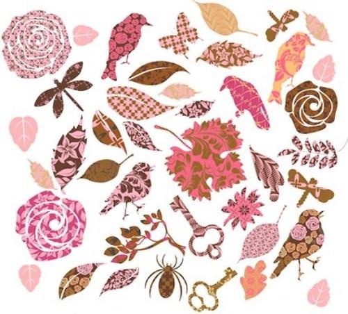Ptačí set růžový arch 55x45 cm