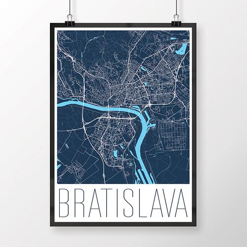 BRATISLAVA, 50x70cm, moderní, tmavě modrá