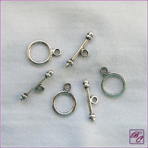 Americké zapínání, stříbrná (3 páry) (K0202)