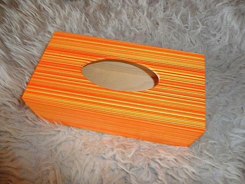 Krabička na kapesníky - oranžové pruhy