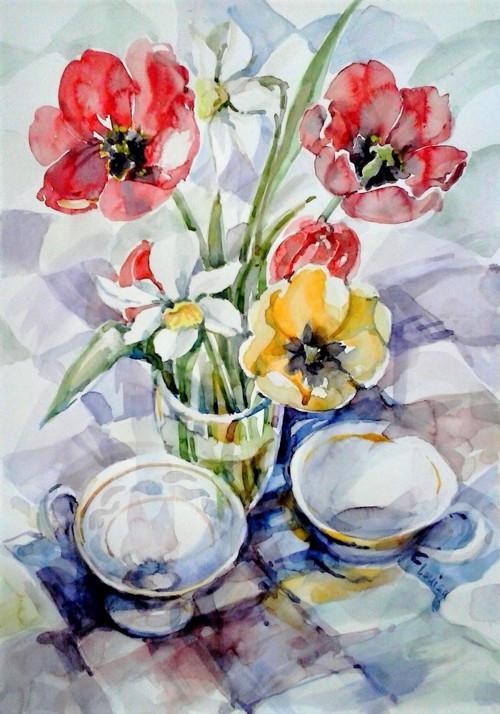 Jarní zátiší - akvarel, papír 30x40 cm