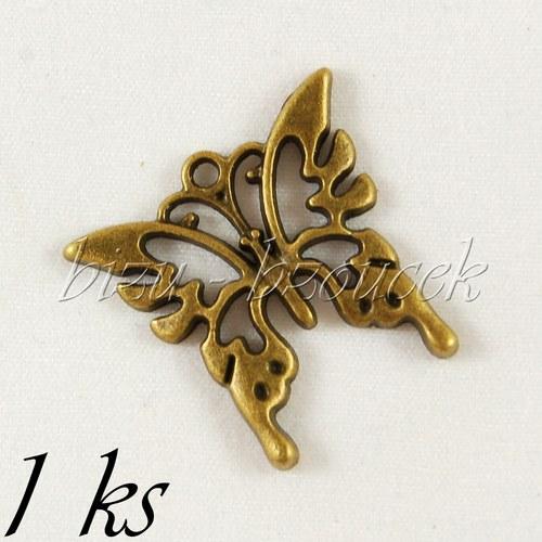Motýlek parádník, bronzová barva - 1ks