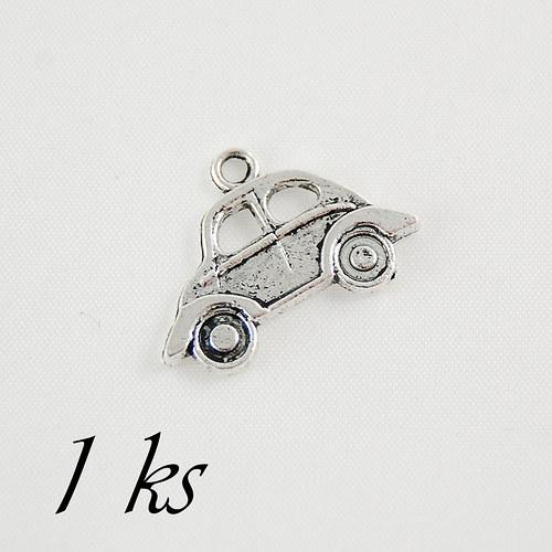 Autíčko, stříbrná barva - 1ks