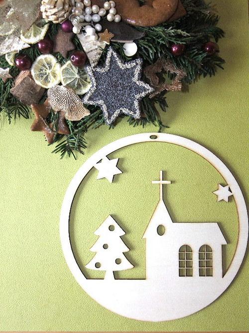 Vánoční dřevěné ozdoby - ZÁVĚS - KOSTELÍK