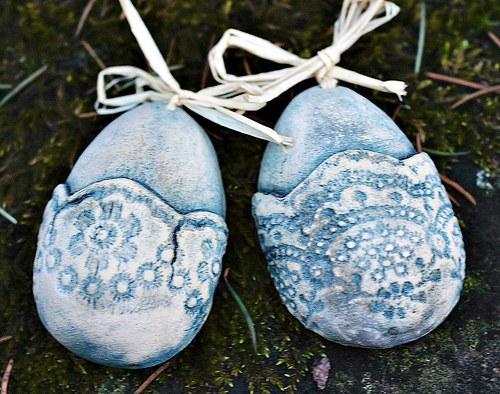 Velikonoční keramické vejce MODRÉ