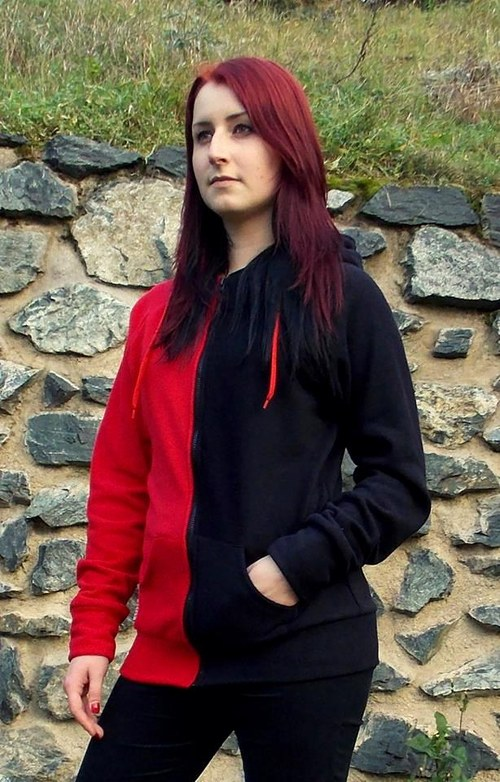 Mikina půlená černá/červená