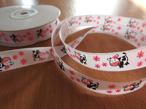 Rypsová stuha kravičky šíře 15 mm kravičky