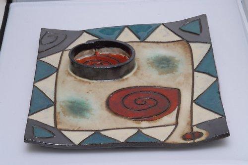 Mísa čtvercová s oddělenou miskou na svíčku