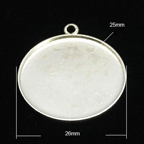 Lůžko kruhové 25mm s očkem, rovný okraj, stříbrná