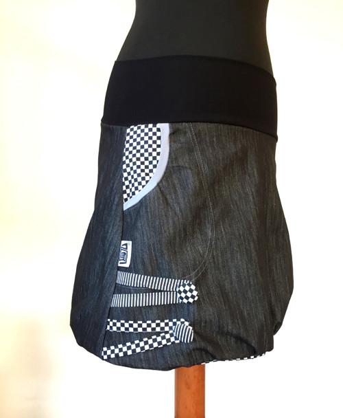 Džínová balónová sukně ....kostičkovaná  podšívka
