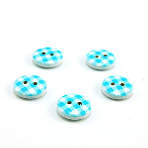 dřevěný knoflík modrá kostka 15 mm - 5 ks