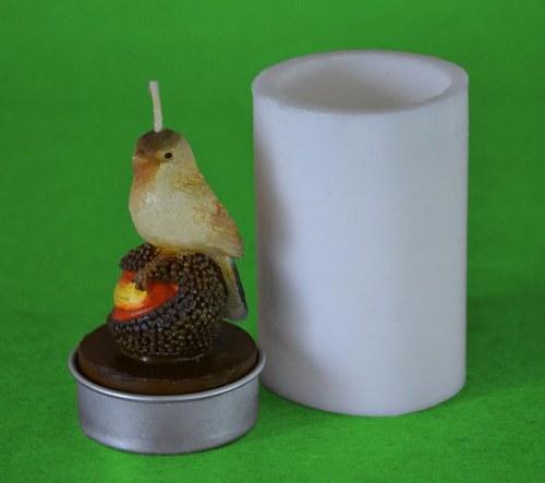 Silikonová forma na čaj. svíčku - Ptáček na oříšku