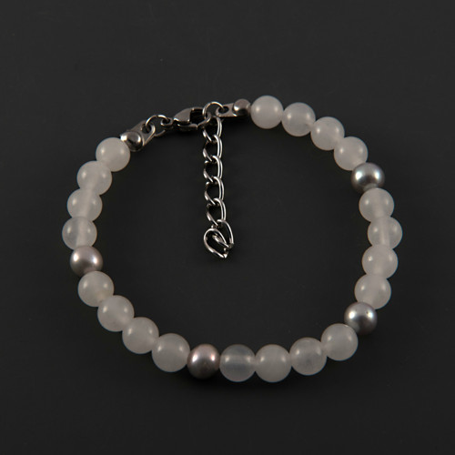 Náramek šedé perly a sněžný jadeit MN1602