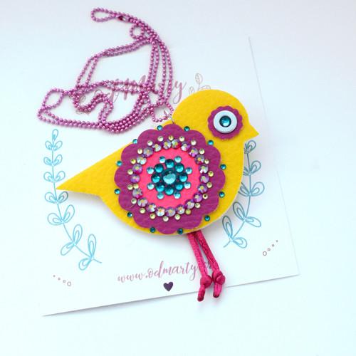 Náhrdelník a brož s ptáčkem Milánkem