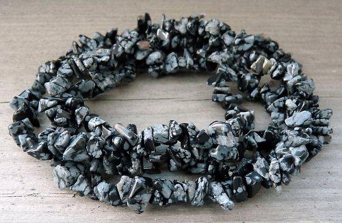 Obsidián vločkový, návlek cca 45 cm s karabinkou