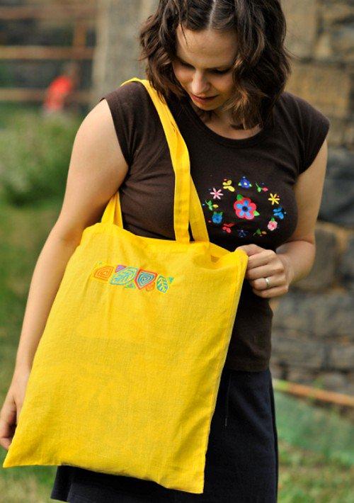 Malá nákupní taška+bordura listy