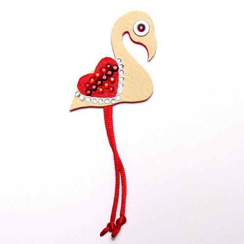 Brož plameňák Valentýn