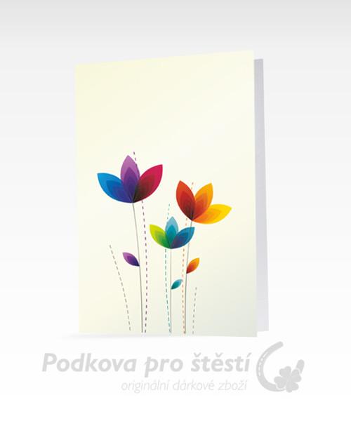 Přání tištěné C6, duhové květiny