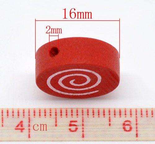 Dřevěné korálky, 5ks, barva červená