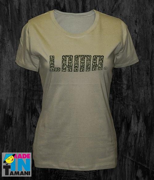 Dámské khaki tričko s Lamou potisk 04