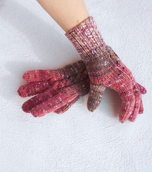 Ručně pletené rukavice melír