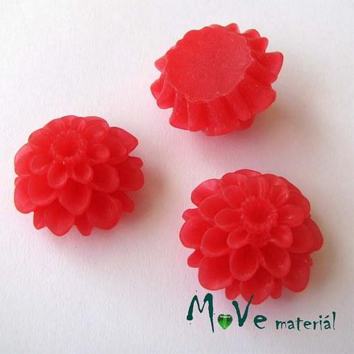 Kabošon květ transparent A5- resin - 2ks, červený