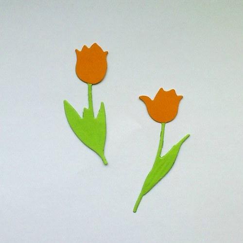 Výsek - tulipány oranžové  2ks