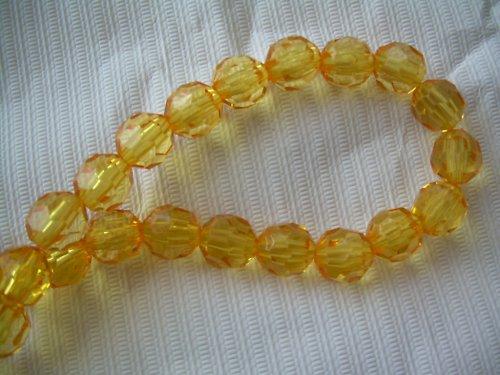 Žlutý  plastový korálek - 5 ks