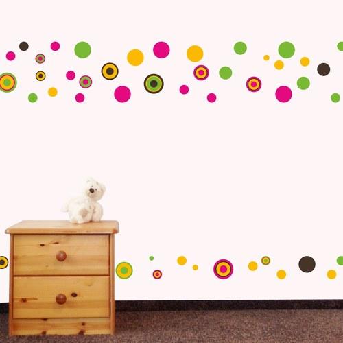 veselé puntíky - barevné - samolepka