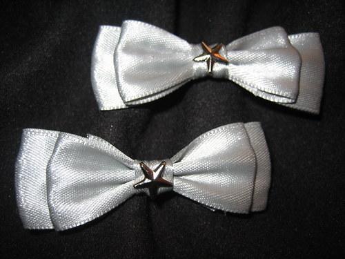 Mašle stříbrné s hvězdou (2ks)