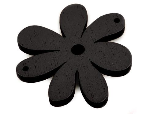 Dřevěný výsek 35x40mm květinka - černé (2ks)