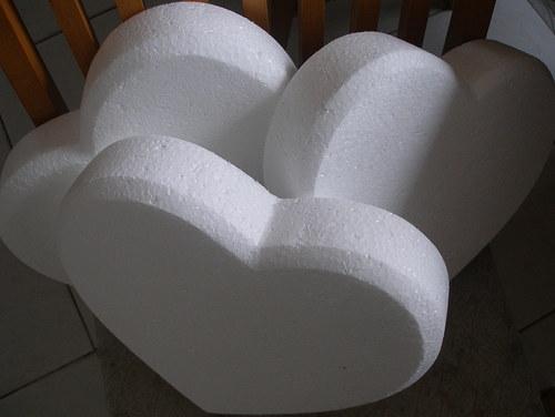 polystyrenové srdce veľké polotovar ručne vyrobený