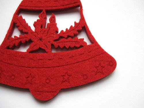 Výsek z plsti - zvoneček červený 1ks (10cm)