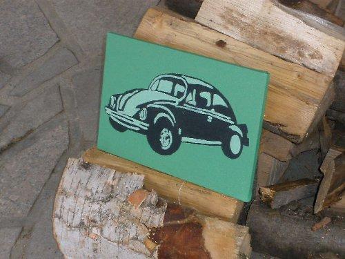 Retro zelený volkswagen beetle